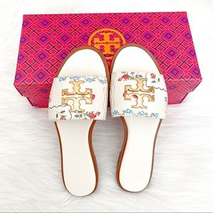 TORY BURCH Floral Print Everly Flat Sandals WHITE